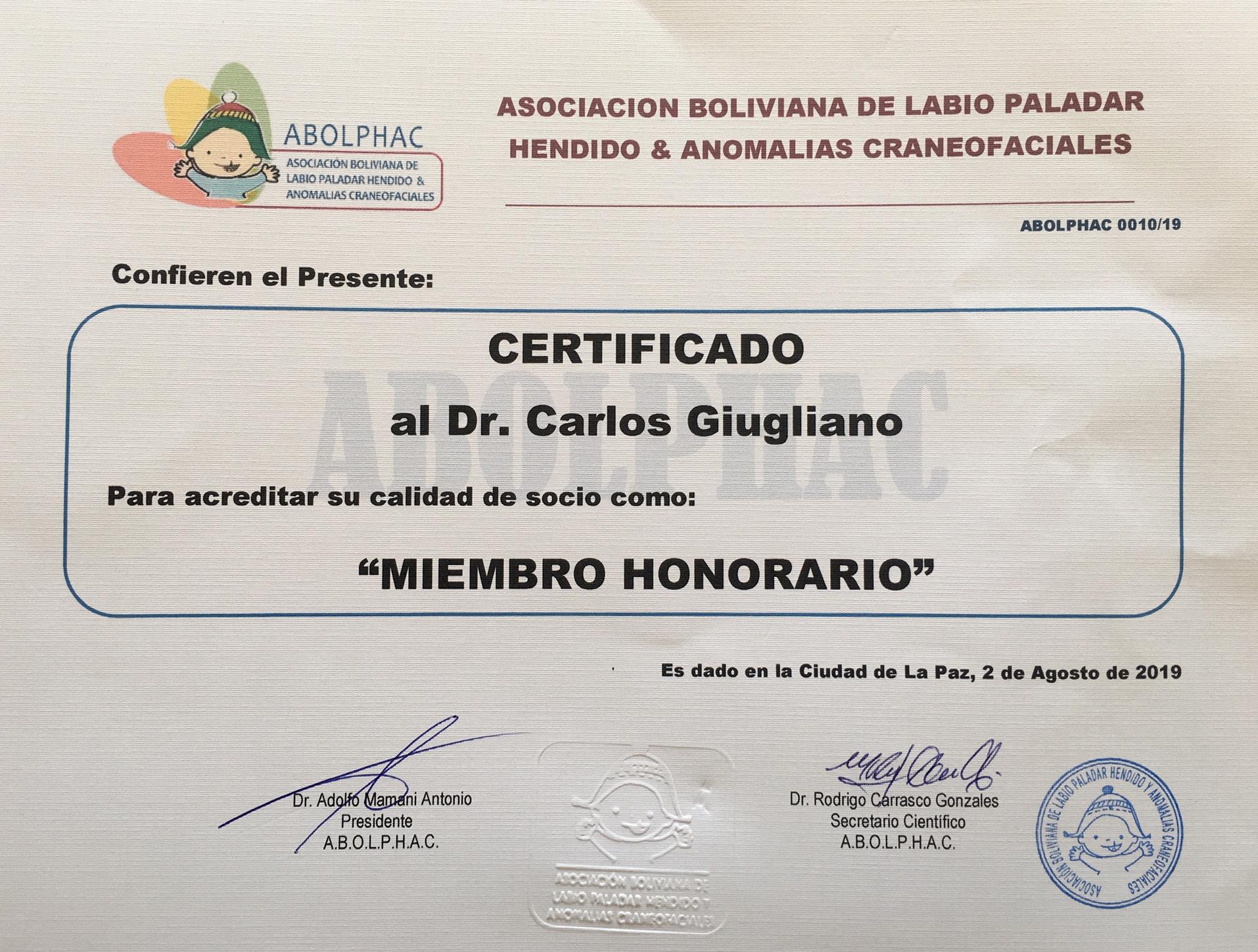 """Destacada participación de Dr. Carlos Giugliano en el I Congreso Internacional de la Fisura Labio Palatina """"Dr. Alberto Bardales Lasteros"""""""