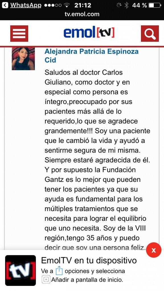 Testimonio a video por entrevista a Dr. Carlos Giugliano