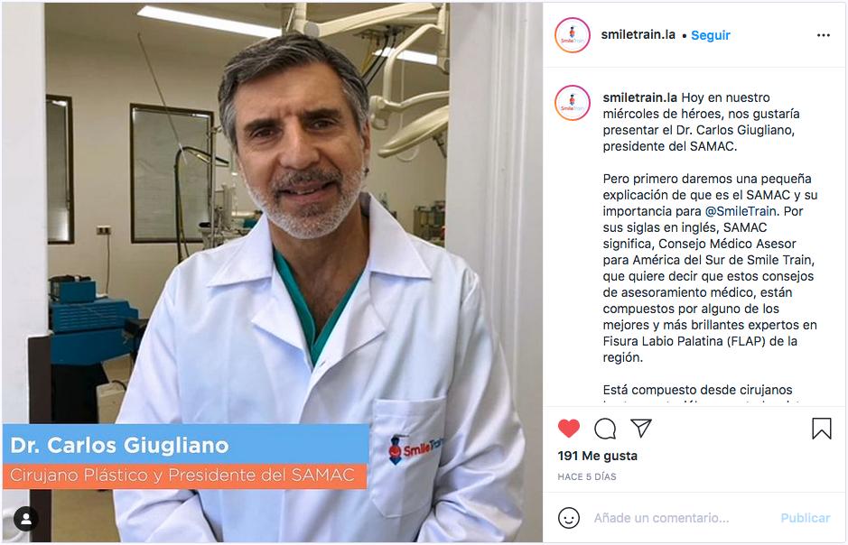 """Dr. Carlos Giugliano, presidente del SAMAC, es elegido como primer representante en la iniciativa """"Miércoles de Héroes"""" en la Fundación Smile Train."""